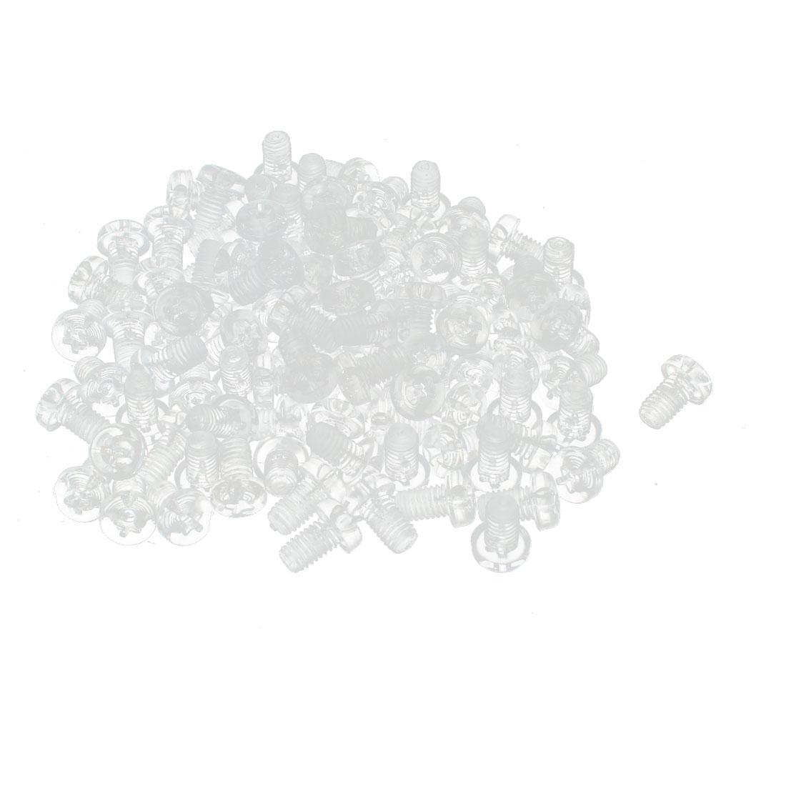 100pcs M5 x 8mm Plastic Phillips Cross Head Machine Screws Clear