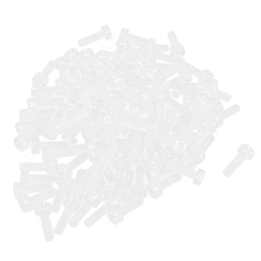 100pcs M3 x 10mm Plastic Phillips Cross Head Machine Screws Clear