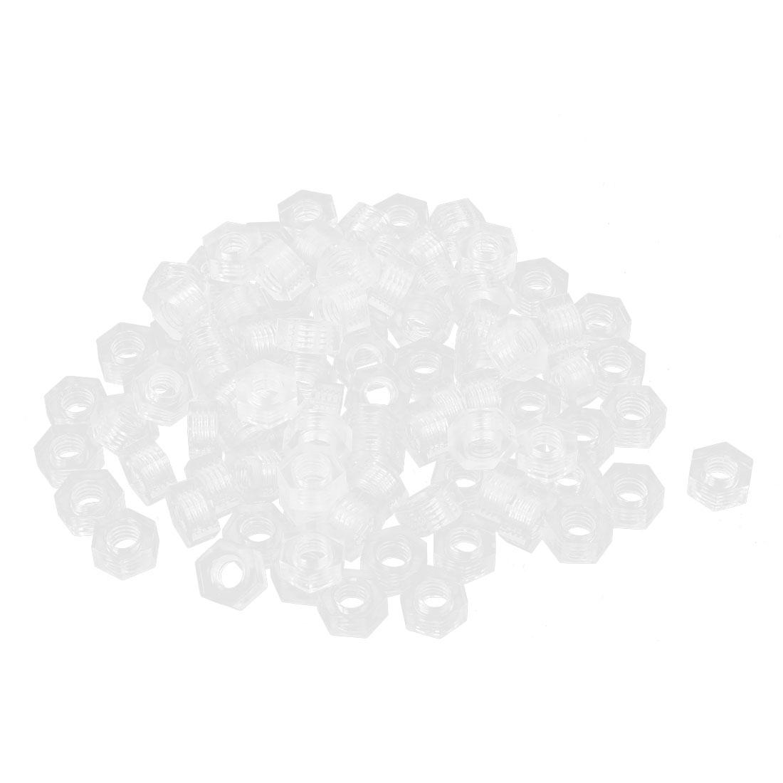 100pcs Metric M4x0.7mm Nylon Hexagon Fastener Hex Full Nuts Clear