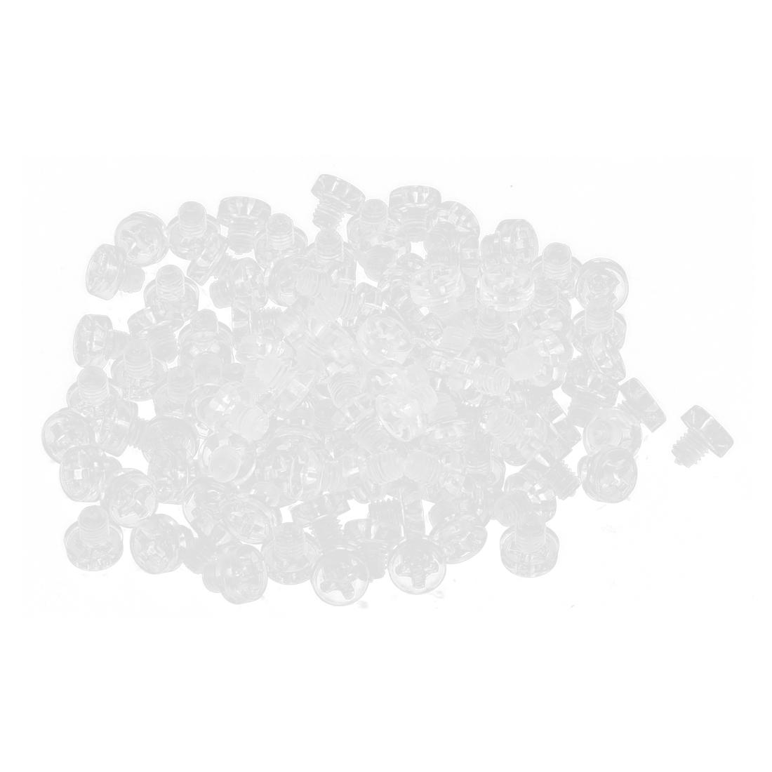 100pcs M3 x 3mm Plastic Phillips Cross Head Machine Screws Clear