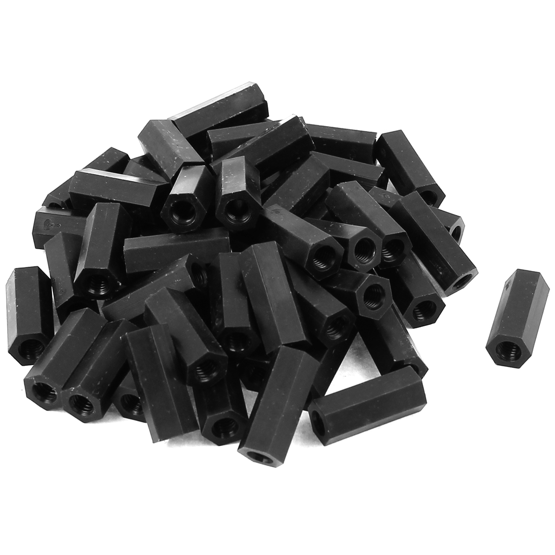50Pcs M4x18mm Nylon Hex PCB Spacer Standoff Pillar Female Screw Nut Black