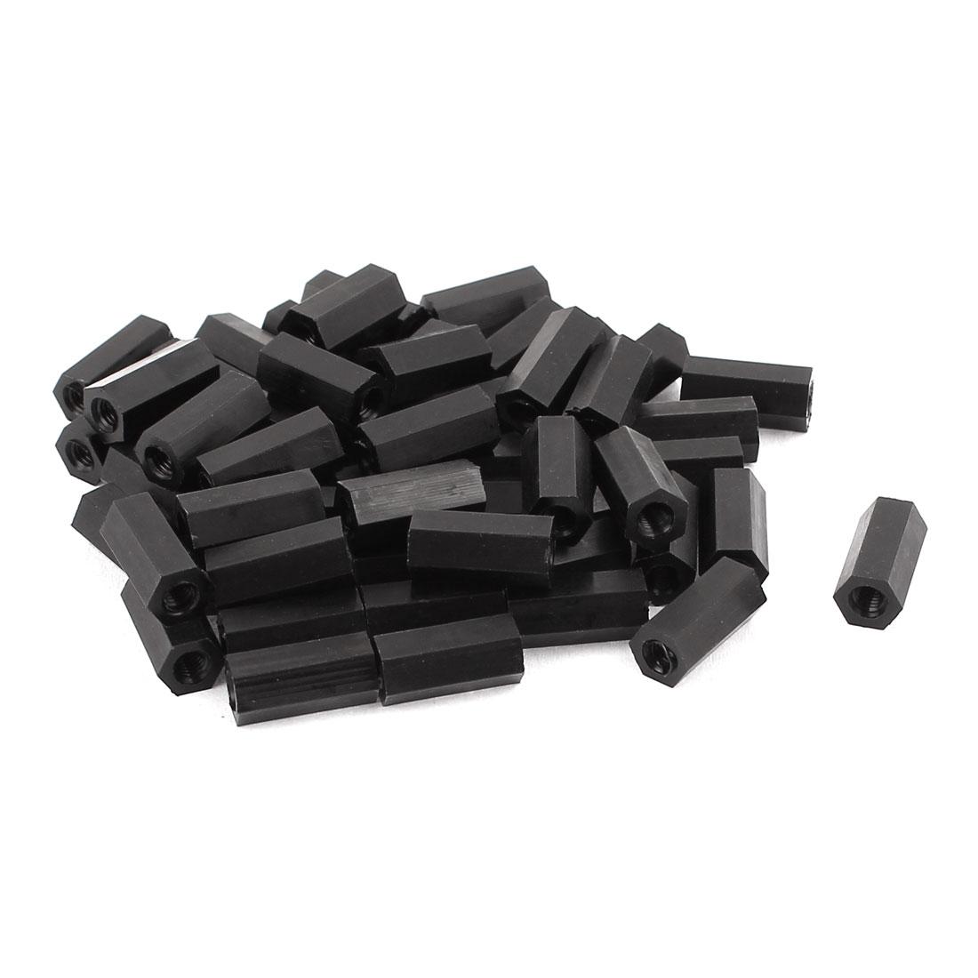 50Pcs M3x12mm Nylon Hex PCB Spacer Standoff Pillar Female Screw Nut Black