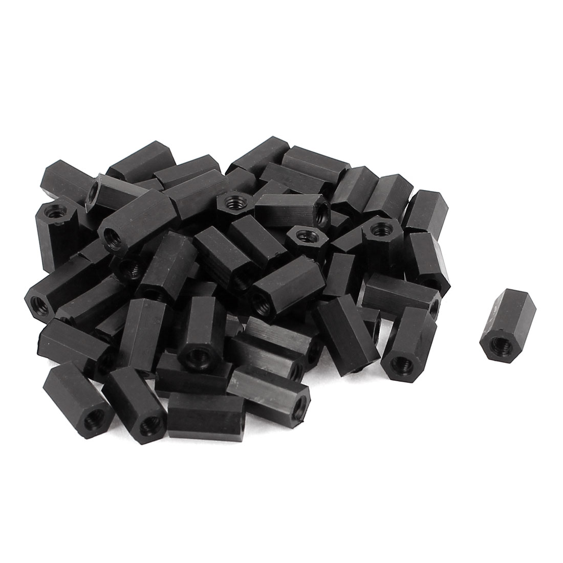 50Pcs M3x10mm Nylon Hex PCB Spacer Standoff Pillar Female Screw Nut Black