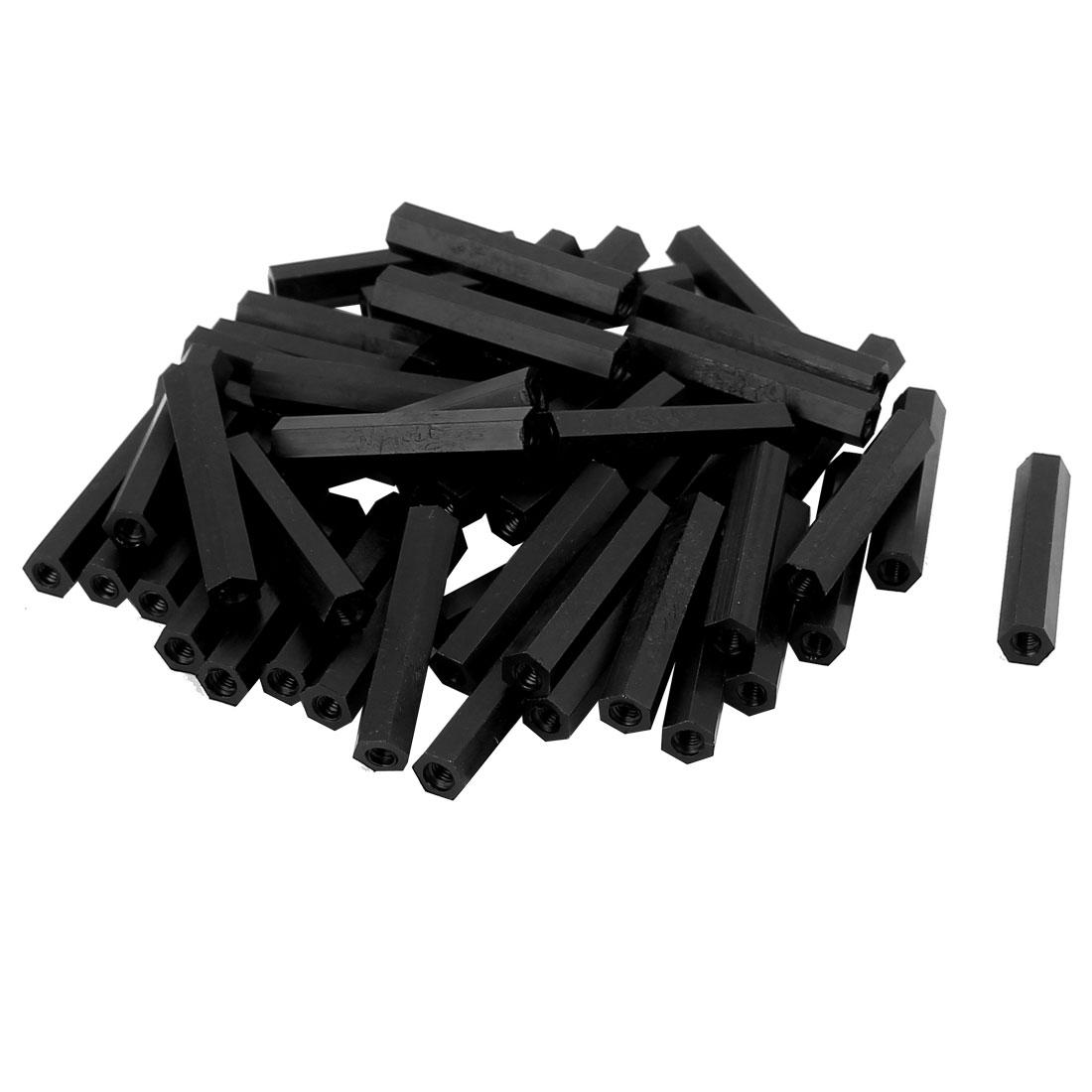 50Pcs M3x30mm Nylon Hex PCB Spacer Standoff Pillar Female Screw Nut Black