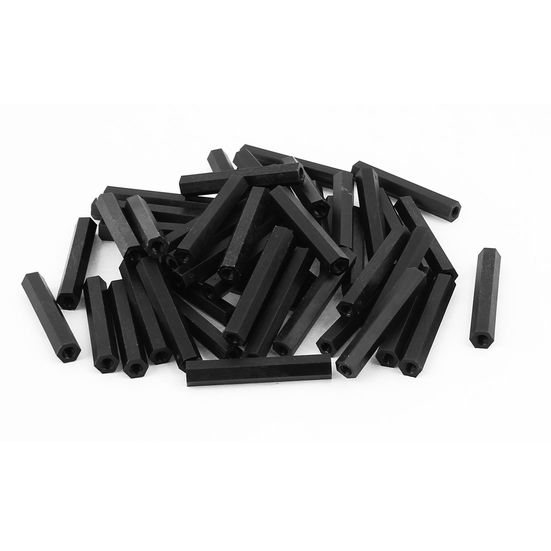 50Pcs M4x45mm Nylon Hex PCB Spacer Standoff Pillar Female Screw Nut Black