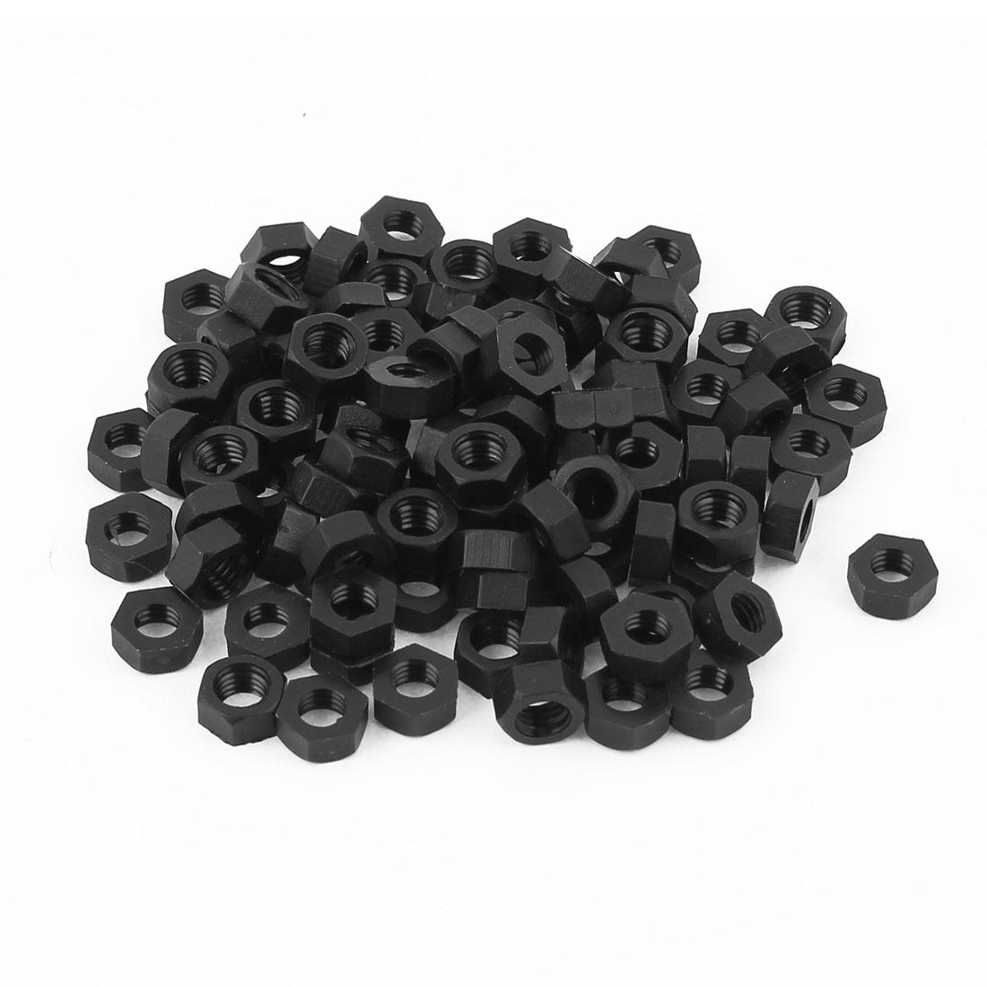 100pcs Metric M5x0.8mm Nylon Hexagon Fastener Hex Full Nuts Black