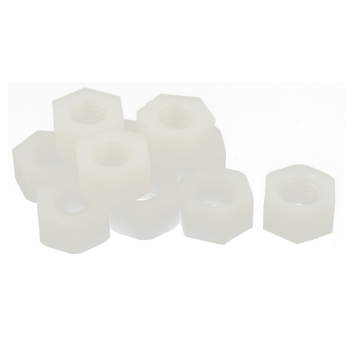10pcs Metric M10x1.5mm Nylon Hexagon Fastener Hex Full Nuts White