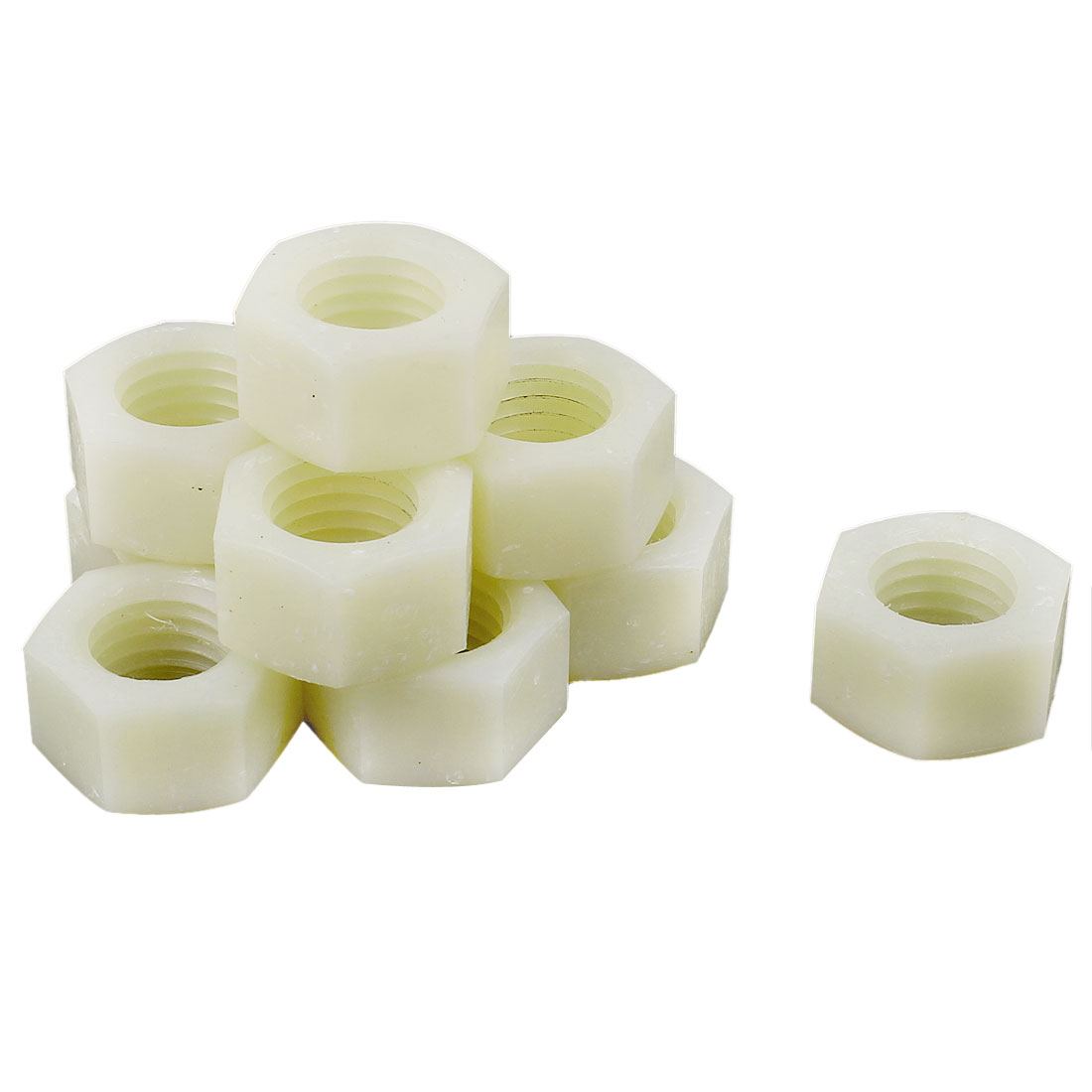 10pcs Metric M17x2.5mm Nylon Hexagon Fastener Hex Full Nuts White