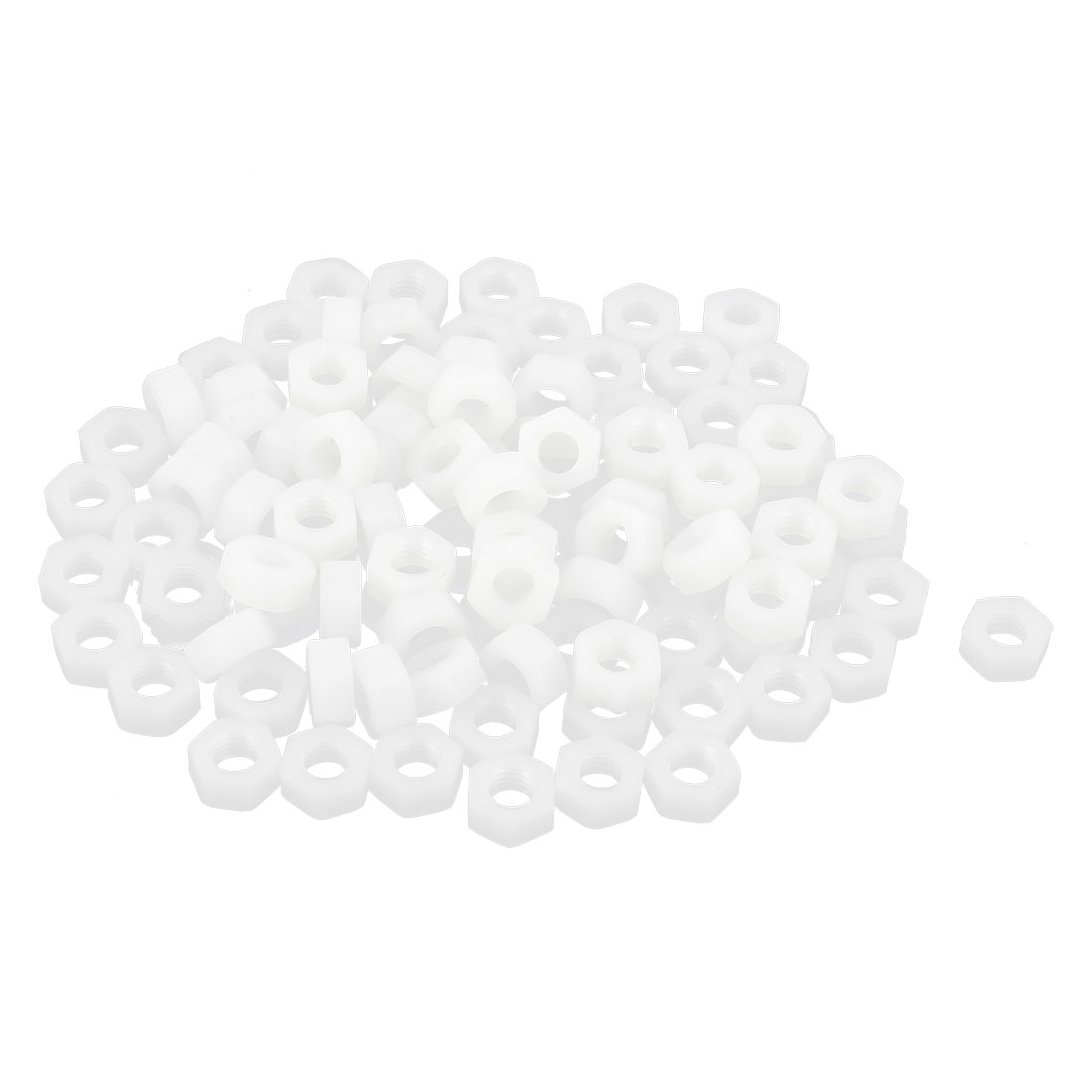 100pcs Metric M6x1mm Nylon Hexagon Fastener Hex Full Nuts White