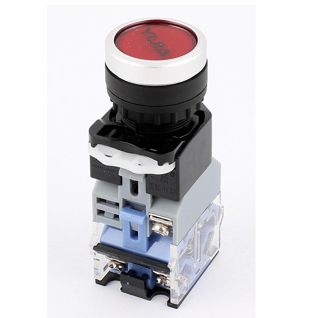 220VAC Red Light LED Indicator Self Locking Flat Push Botton Switch 600VAC 10A