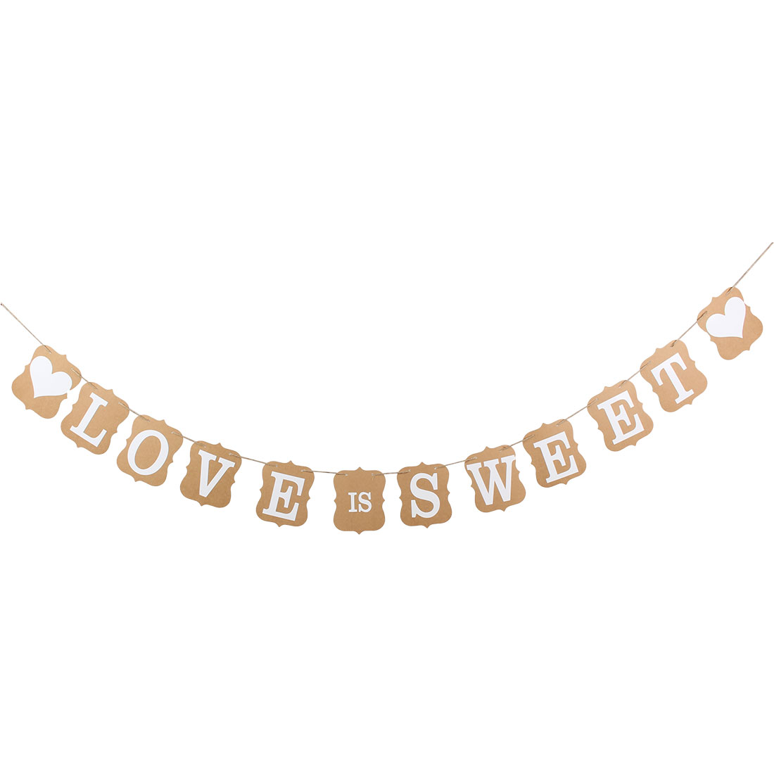 LOVE IS SWEET Wedding Engagement Banner Bunting Vintage Venue Decoration Photo Prop Khaki