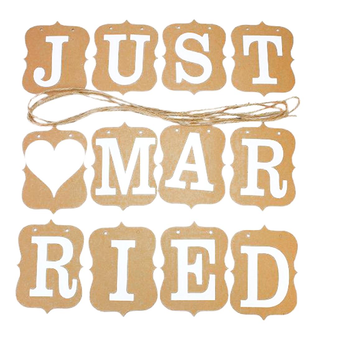 JUST MARRIED Wedding Engagement Banner Bunting Vintage Venue Decor Photo Prop