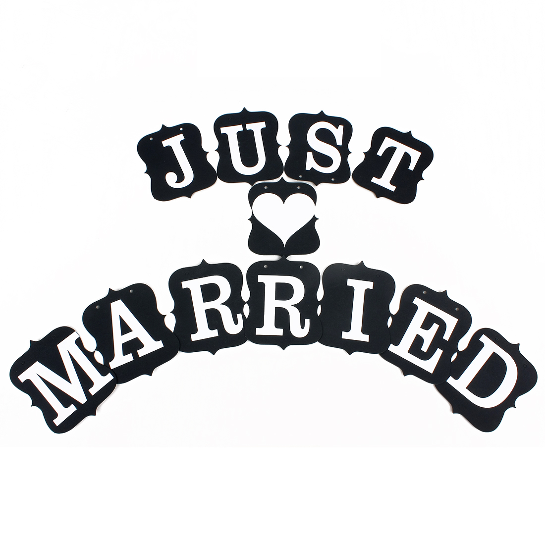 JUST MARRIED Letter Wedding Card Bunting Engagement Banner Venue Decor Photo Prop