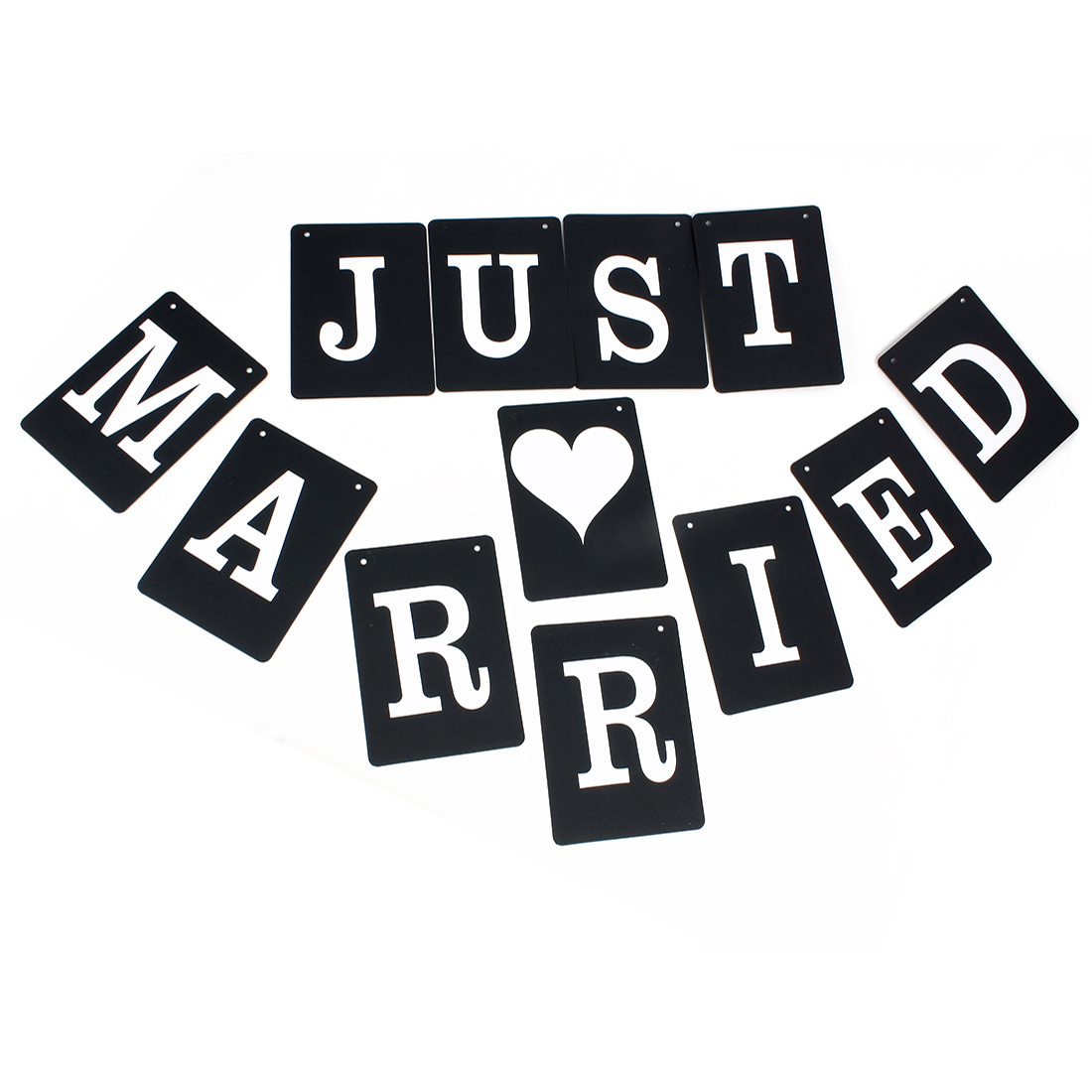 JUST MARRIED Bunting Sign Wedding Banner Photo Prop Party Decoration Black