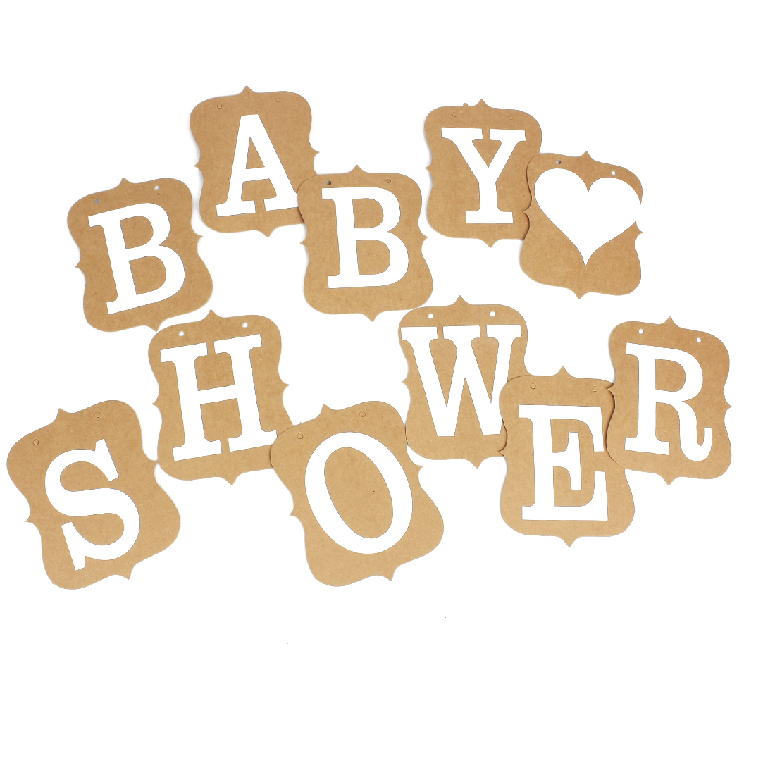 BABY SHOWER Banner Card Venue Party Decoration Bunting Garland Photo Prop Khaki