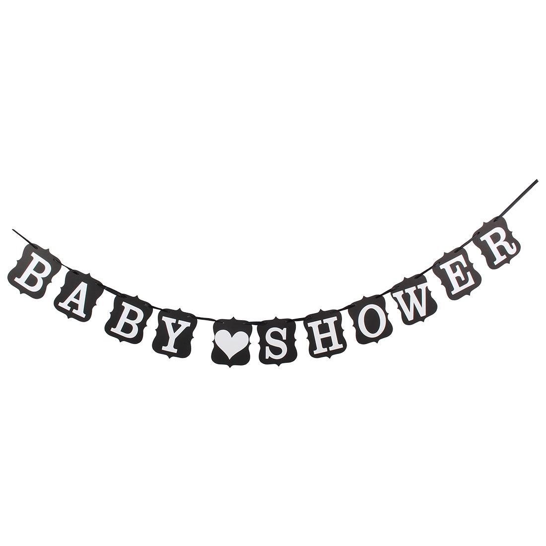 BABY SHOWER Letter Card Banner Bunting Garland Venue Decoration Photo Prop Black