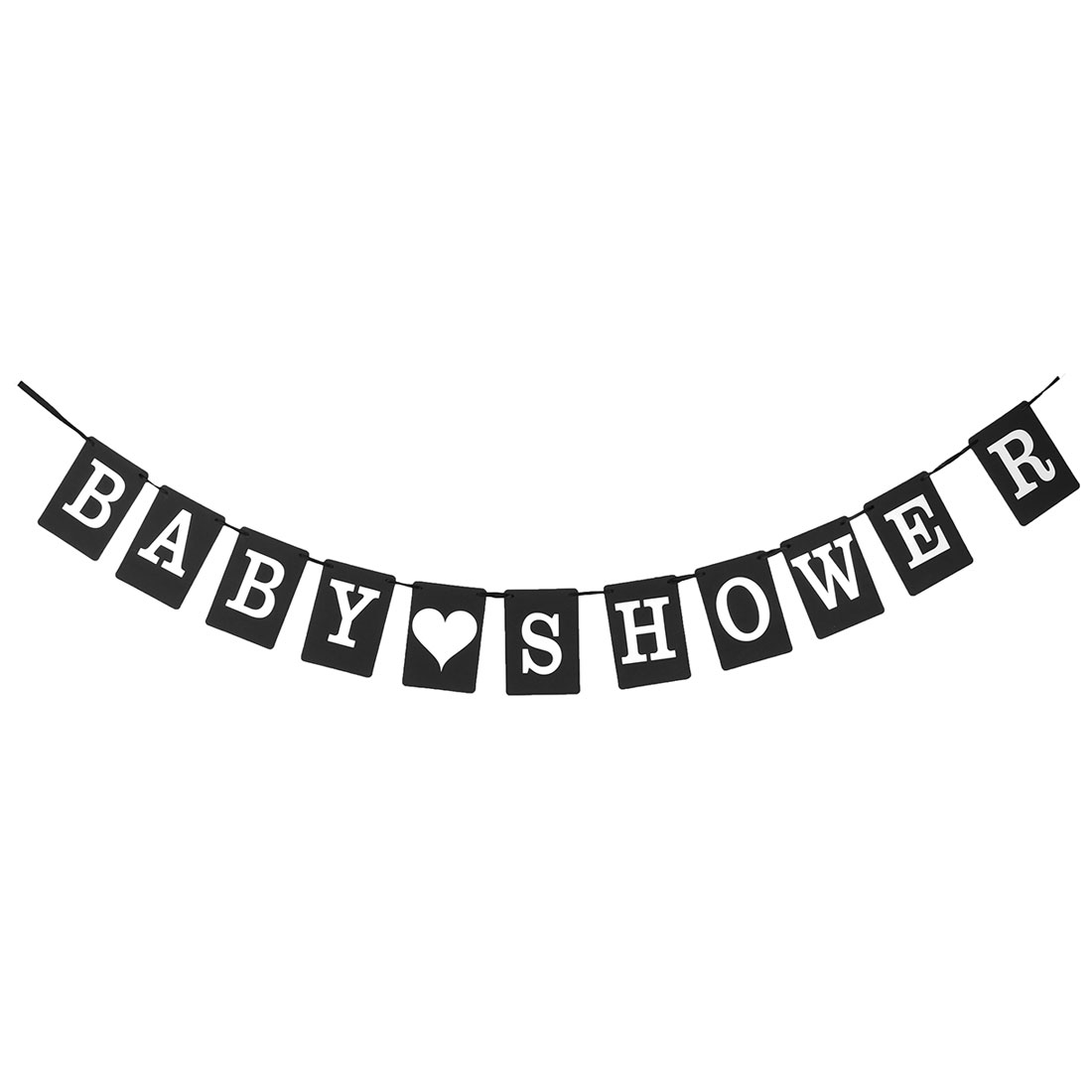 BABY SHOWER Bunting Garland Sign Banner Photo Prop Party Decor Black