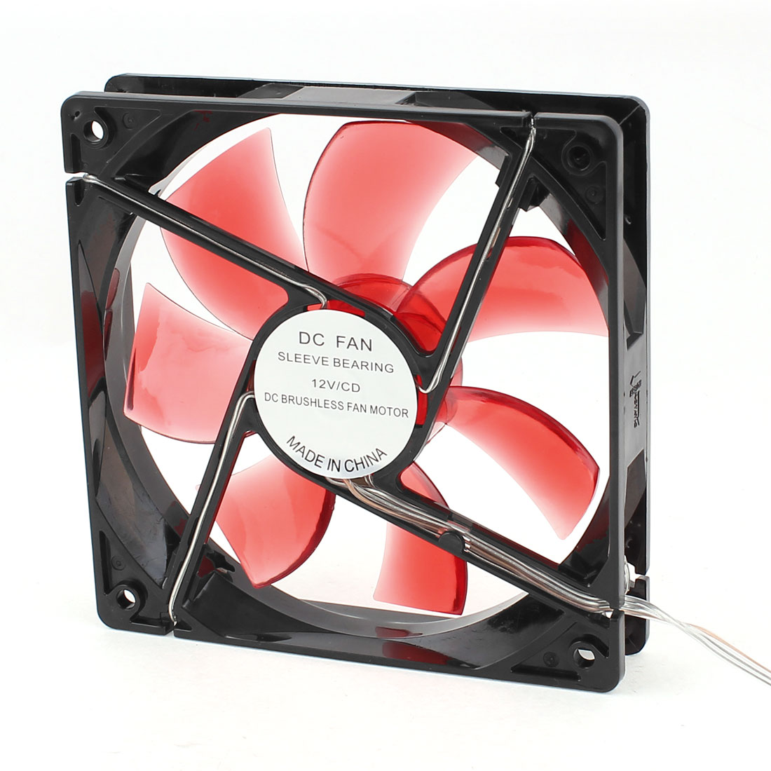 Red LED Light 7 cutter Cooler Cooling Brushless Sleeve Bearing DC Fan 12x2.5cm