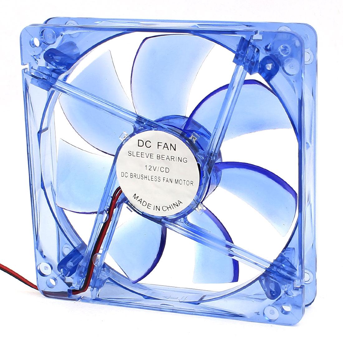 Blue LED Light DC Fan Cooler Brushless 12x2.5cm Cooling Radiator