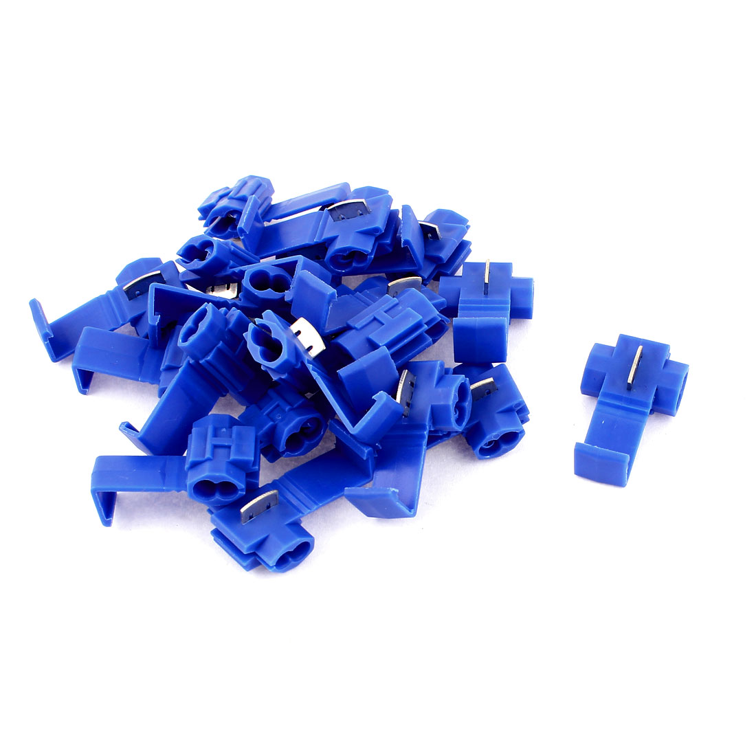 20 Pcs Blue Electrical Cable Connectors Quick Splice 18-14AWG Lock Wire Terminals Crimp
