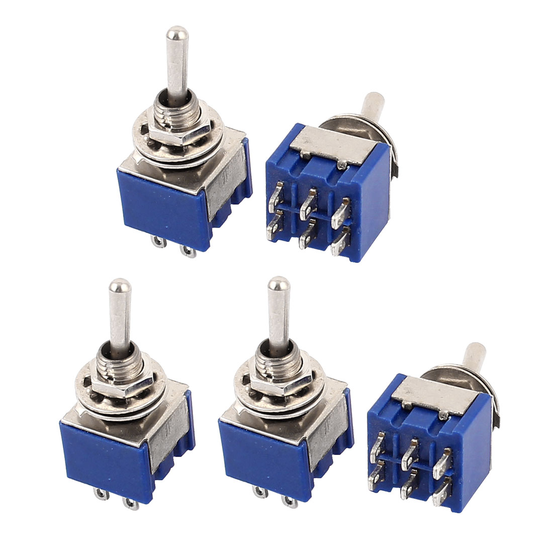 5 Pcs AC 125V 6A DPDT ON-ON 2 Positions 6 Pin Terminal Latching Miniature Toggle Switch