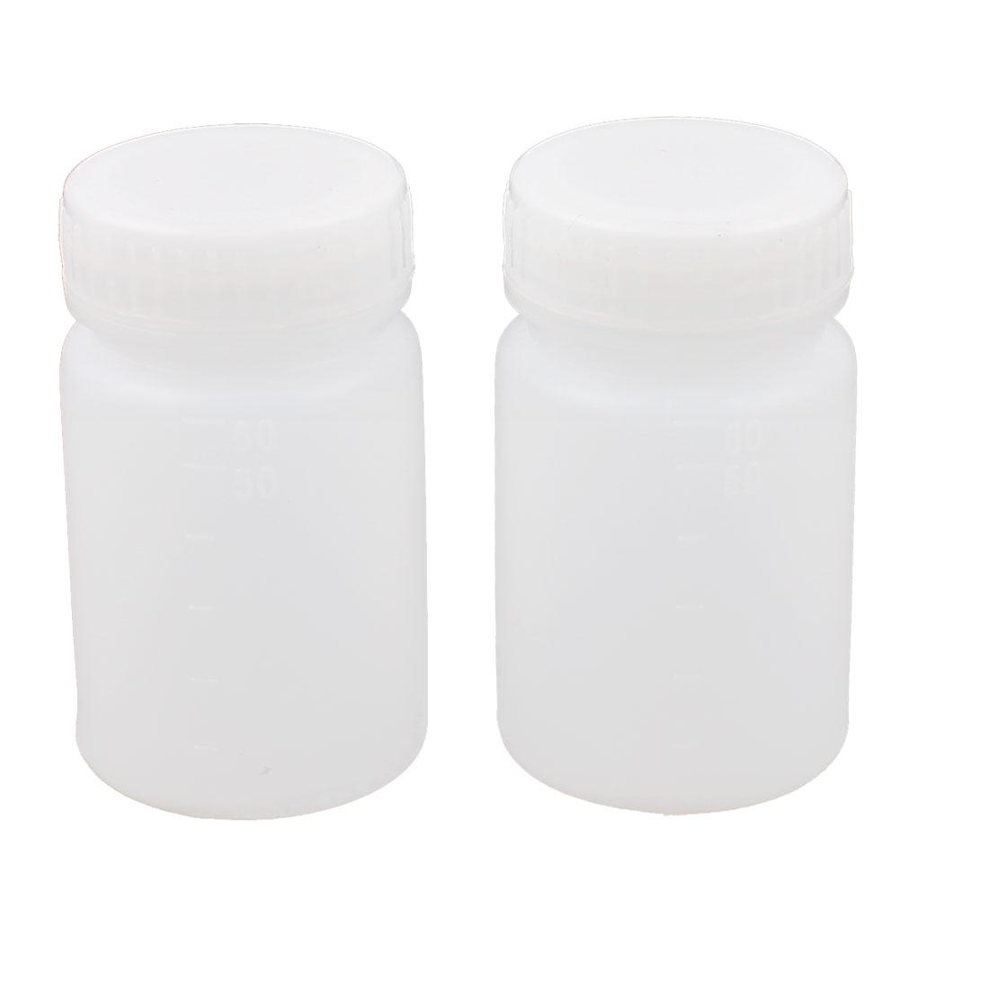 2 Pcs White Plastic Cylinder Body Double Cap Leakproof Liquid Laboratory Bottle