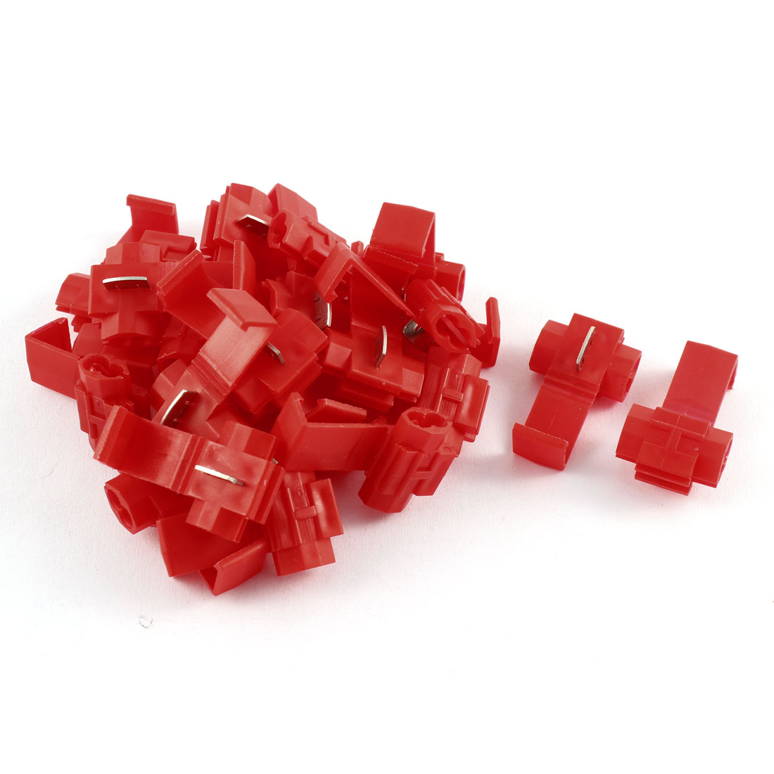 Auto Car 2.5mm 2 Cable Splitter Button Clip Wire Quick Connector Red 25 Pcs