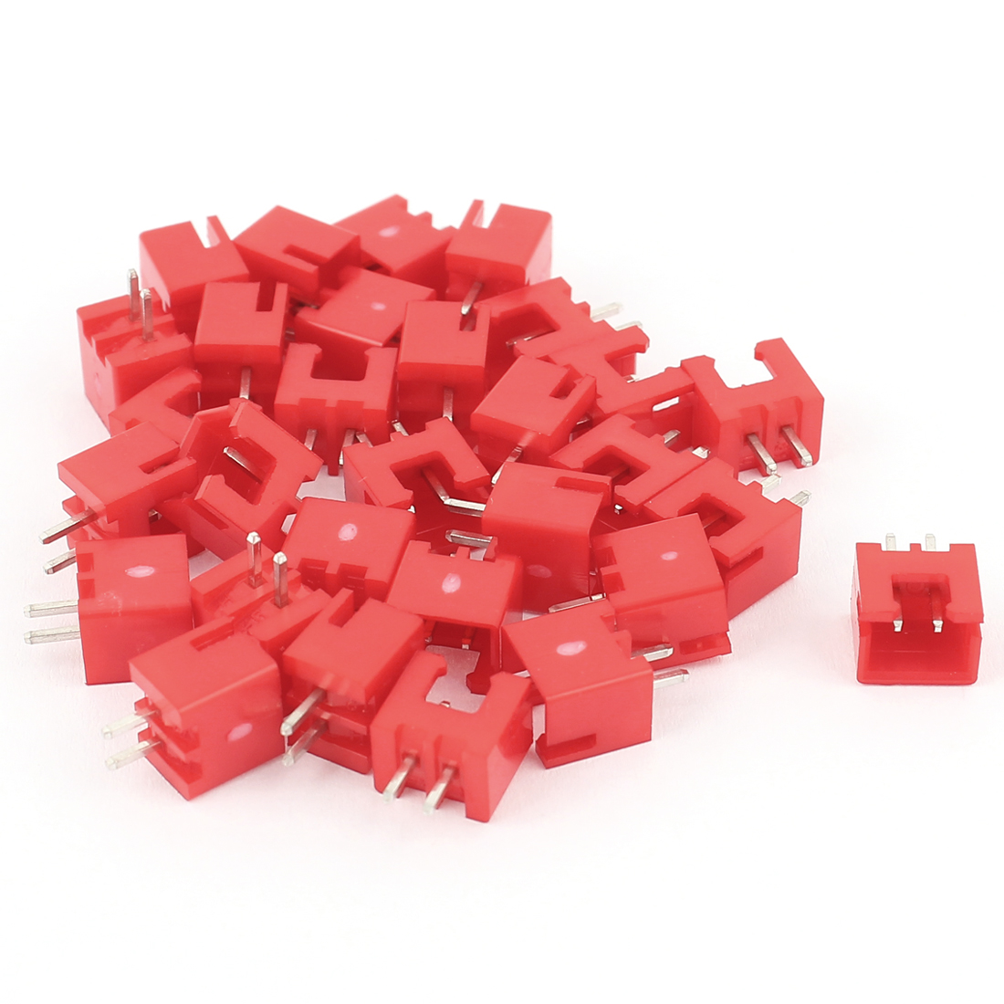 30 Pcs Red Nylon 2.54mm XH2.54-2P 2 Pin Connector Kits