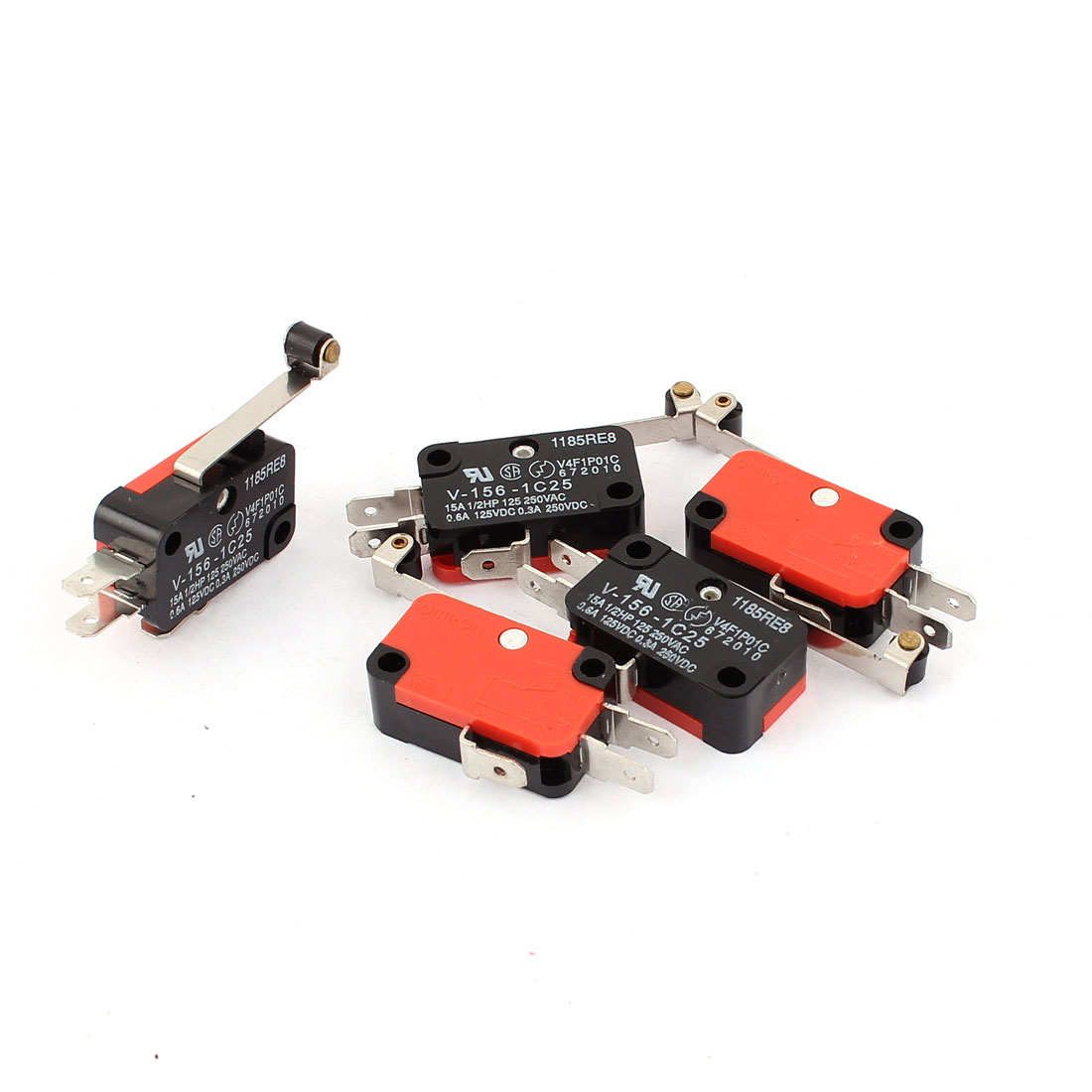 5 Pcs V-156-1C25 Long Hinge Roller Momentary SPDT NO/NC Micro Limit Switch
