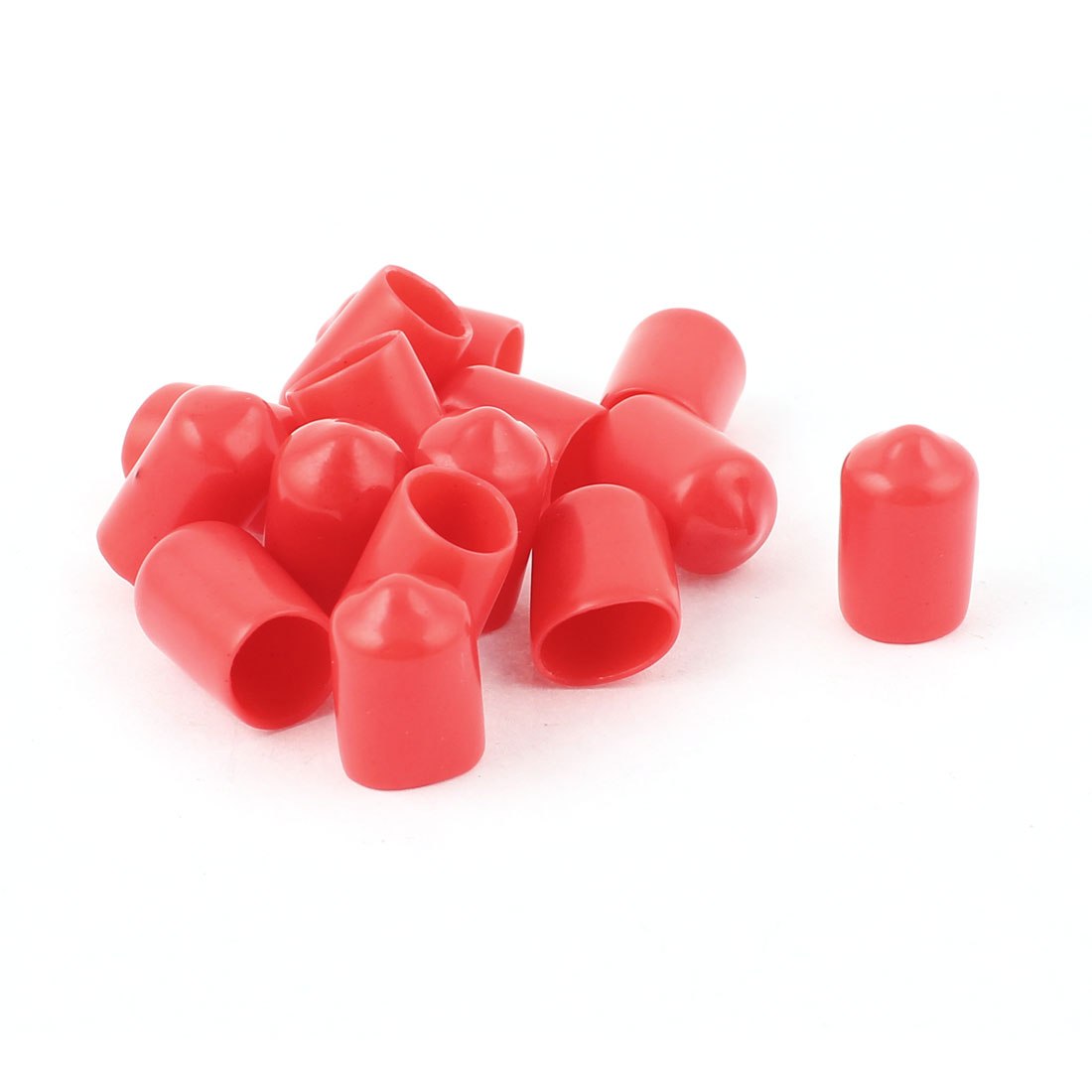 15 Pcs 18mm Height 9mm Inner Dia Round Tip Red PVC Insulated End Caps