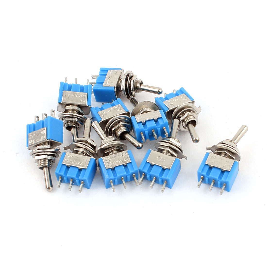 AC 125V 6A SPDT ON-ON 2 Positions 3 Pin Latching Miniature Toggle Switch 10 Pcs
