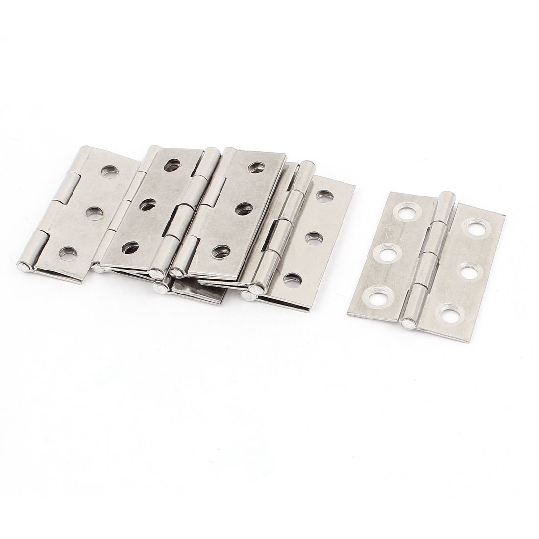 "8 Pcs Stainless Steel 4.5mm Mounting Hole 1.7"" Length Cabinet Door Hinge"