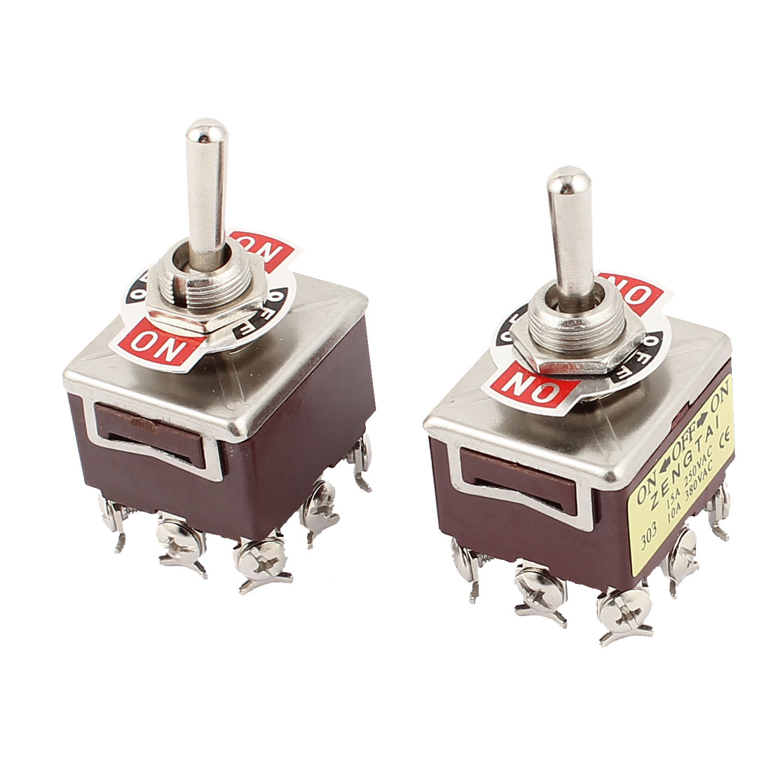 2 Pcs AC 250V 15A 380V 10A 9 Screw Terminals ON-OFF-ON 3 Position 3PDT Toggle Switch