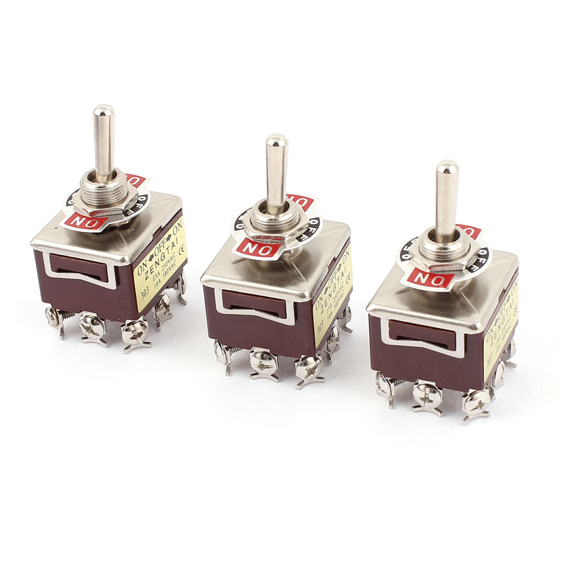 3 Pcs AC 250V 15A 380V 10A 9 Terminal ON-OFF-ON 3 Position 3PDT Toggle Switch