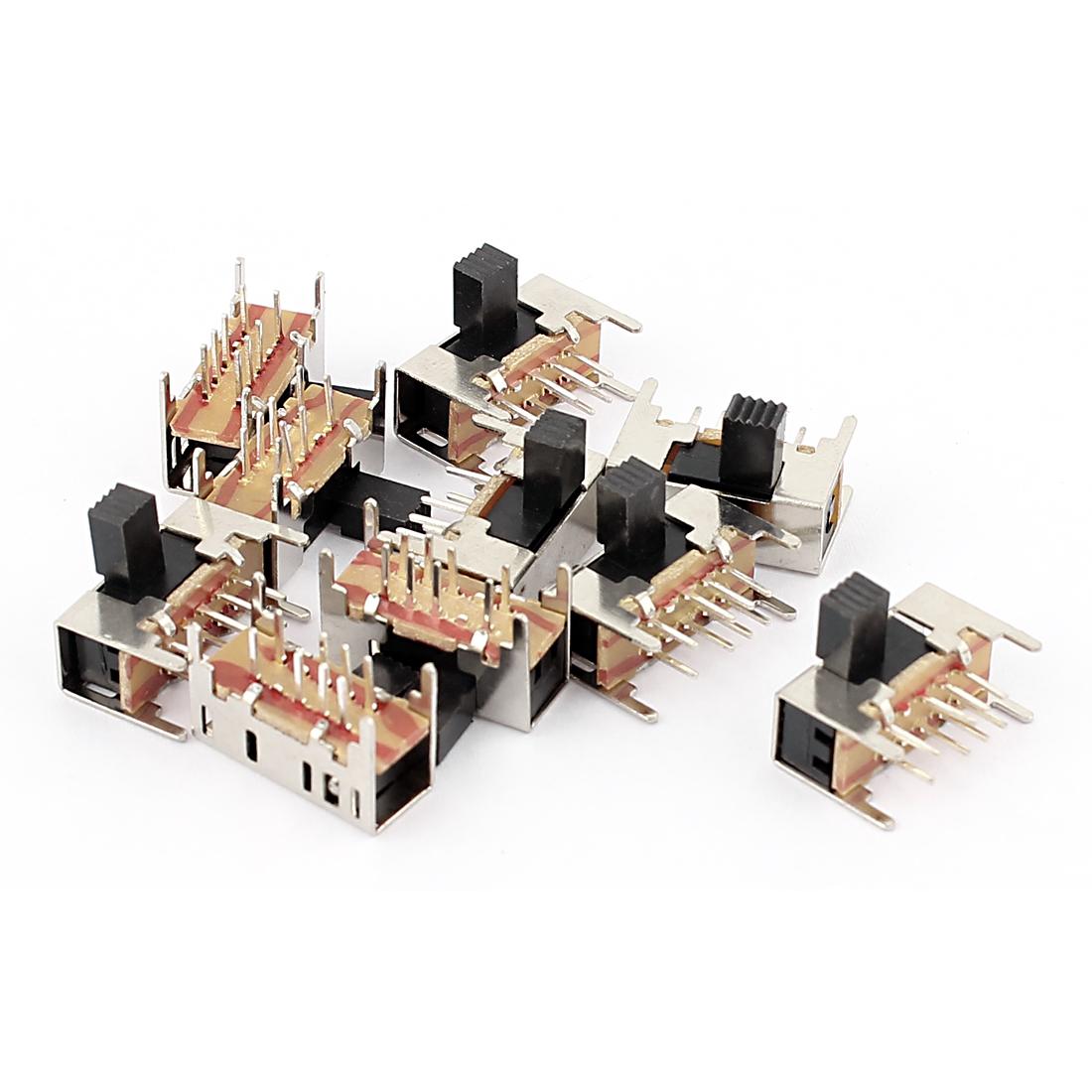10 Pcs 3 Position 2P3T 8 Pin PCB Panel Mini Micro Right Angle Slide Switch