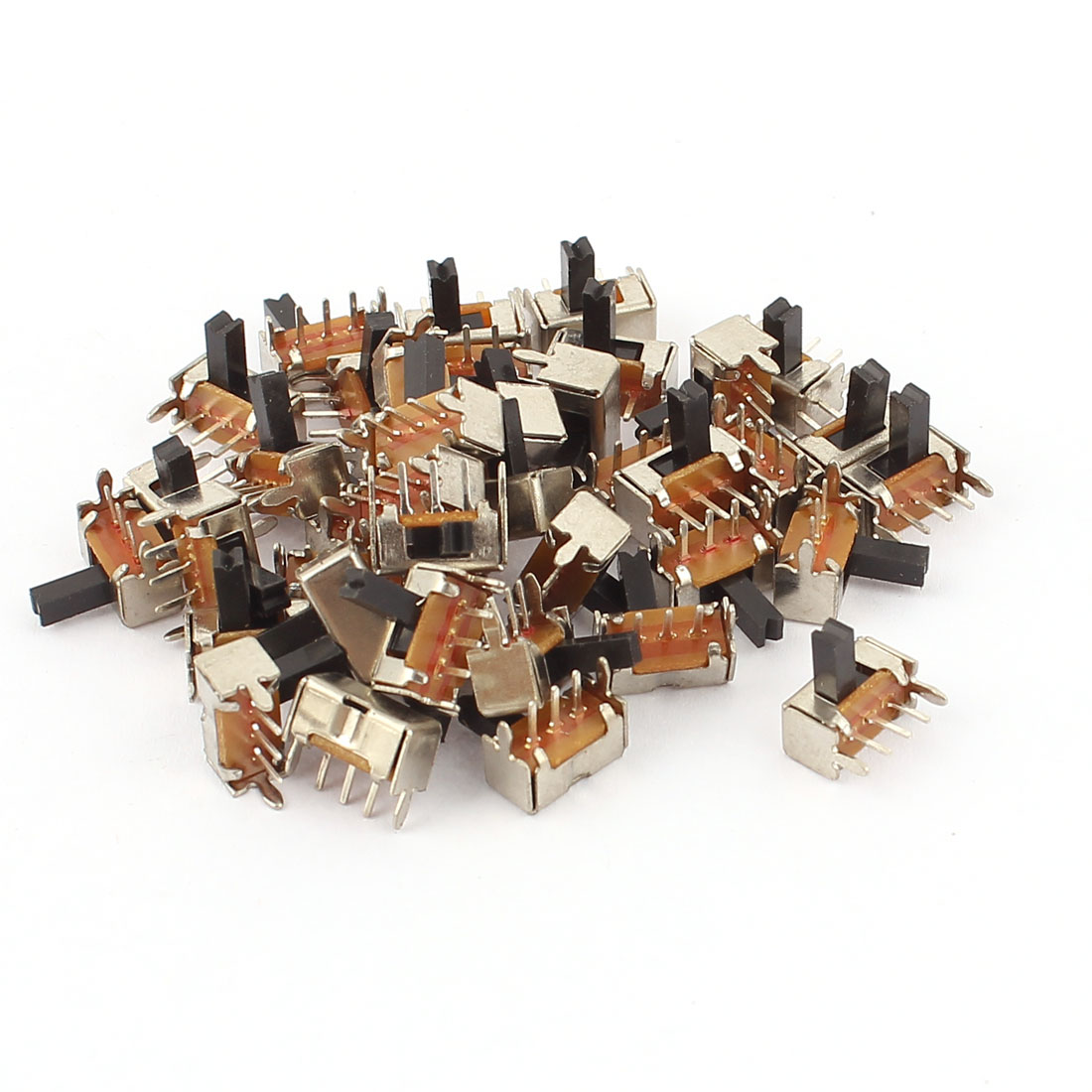 40 Pcs 2 Position 3Pins SPDT Right Angle Panel Mount Slide Switch DC 50V 0.8A