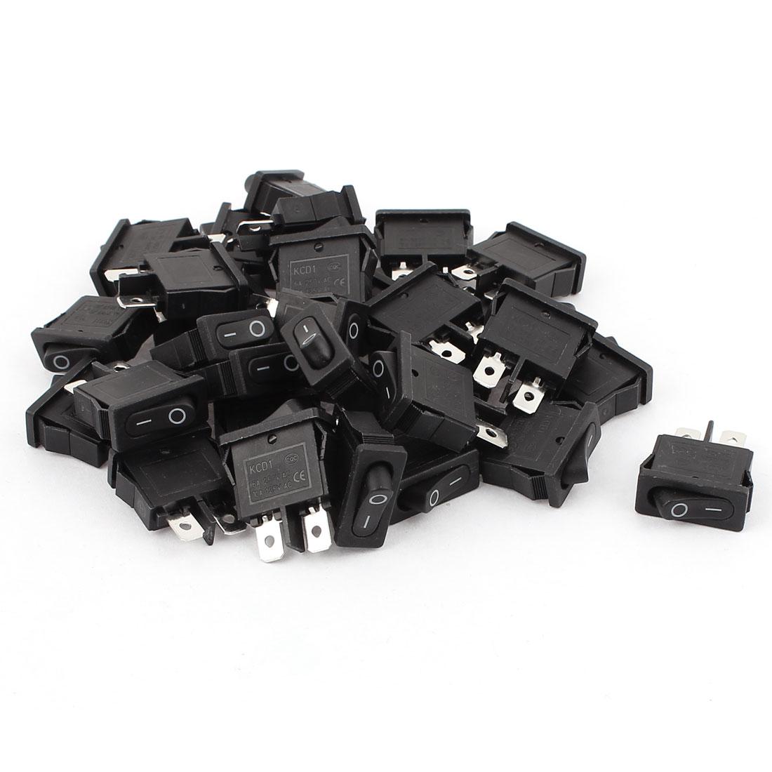 30 Pcs SPST ON/OFF Mini Black Boat Rocker Switch AC 250V/6A 125V/10A