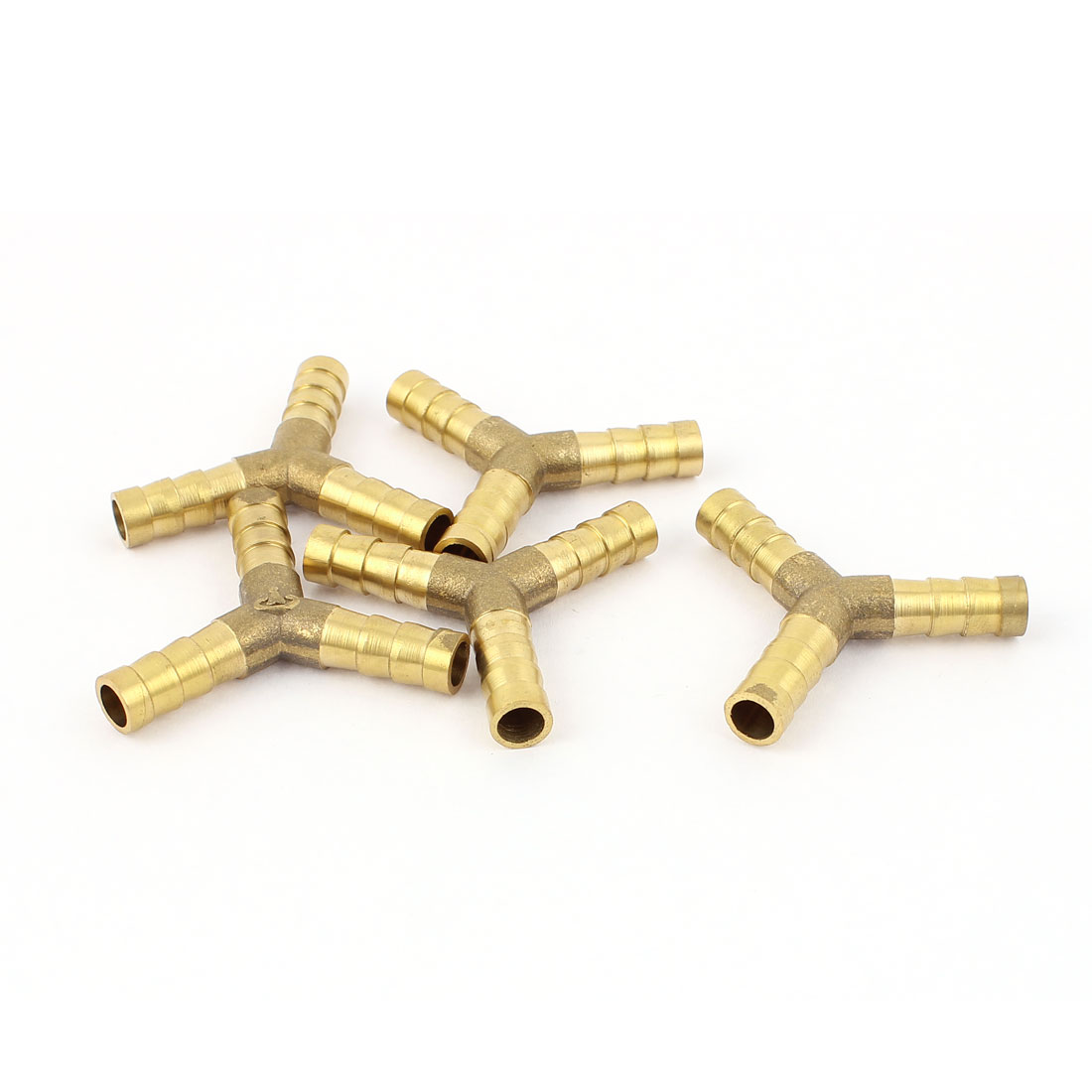 5 Pcs 8mm Dia Y Type Tube Connector Brass Fuel Hose Joiner Fittings