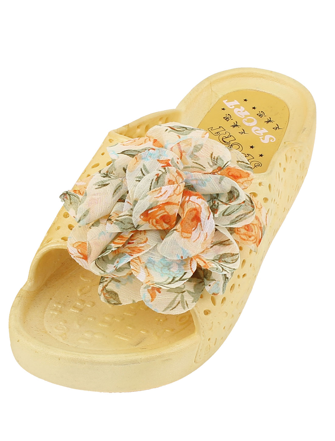 Summer Ladies Plastic Hollow Out Flower Non-skid Slippers Flip Flop Yellow Pair US 7.5