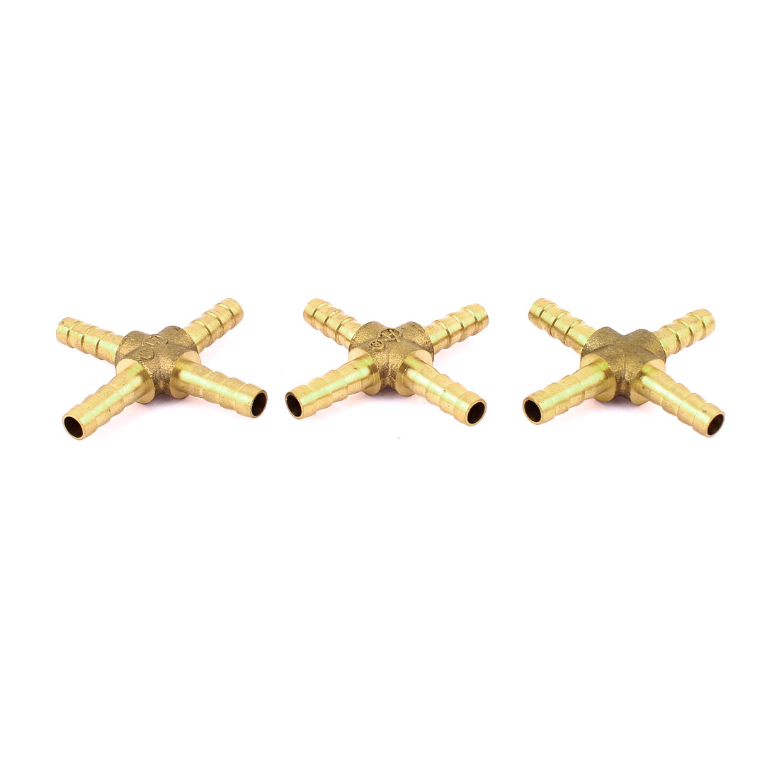 3 Pcs 4 Way Cross Shaped 6.5mm Tube Connector Brass Fuel Hose Barb Fittings
