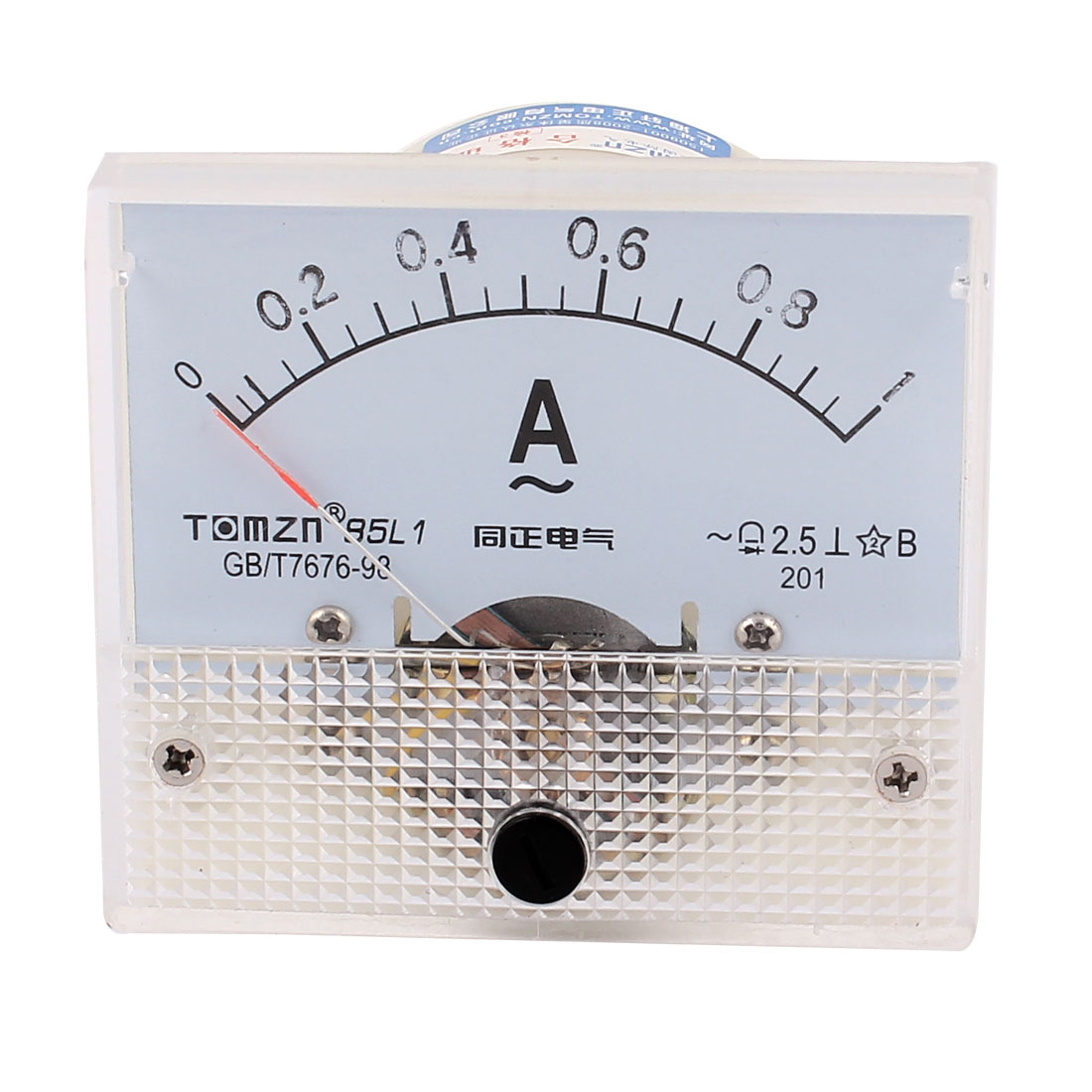 85L1 DC 0-1A Plastic Analog Current Panel Meter Ammeter White