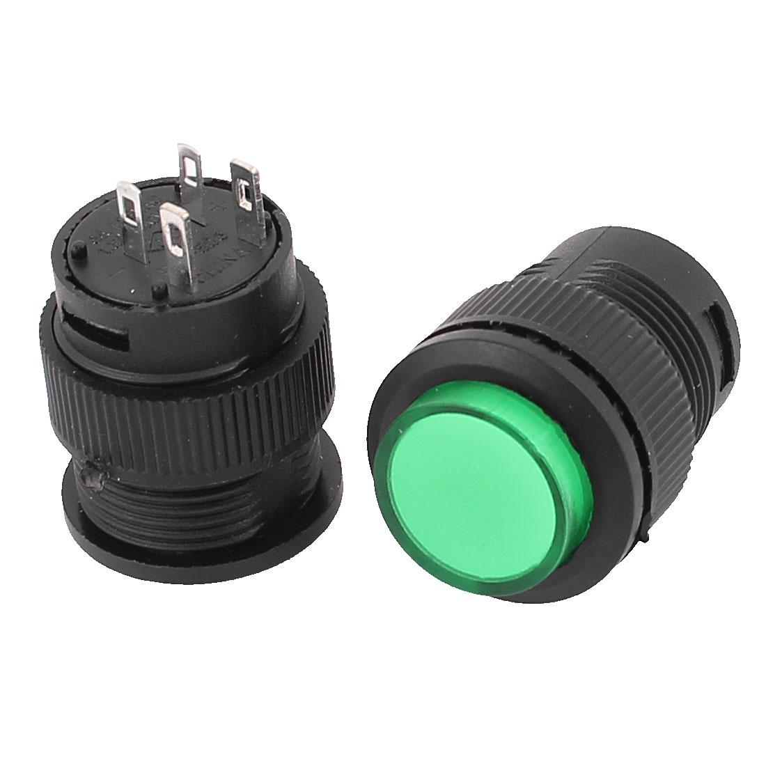 R16-503 AC 3A 125V / 1.5A 250V 4 Pin Terminals Latching Green LED Indicator Light