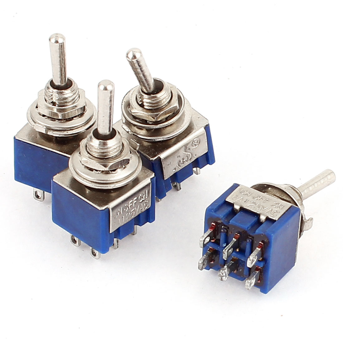 4Pcs AC 125V 6A 3 Position ON-OFF-ON 6 Pin Toggle Switch Blue