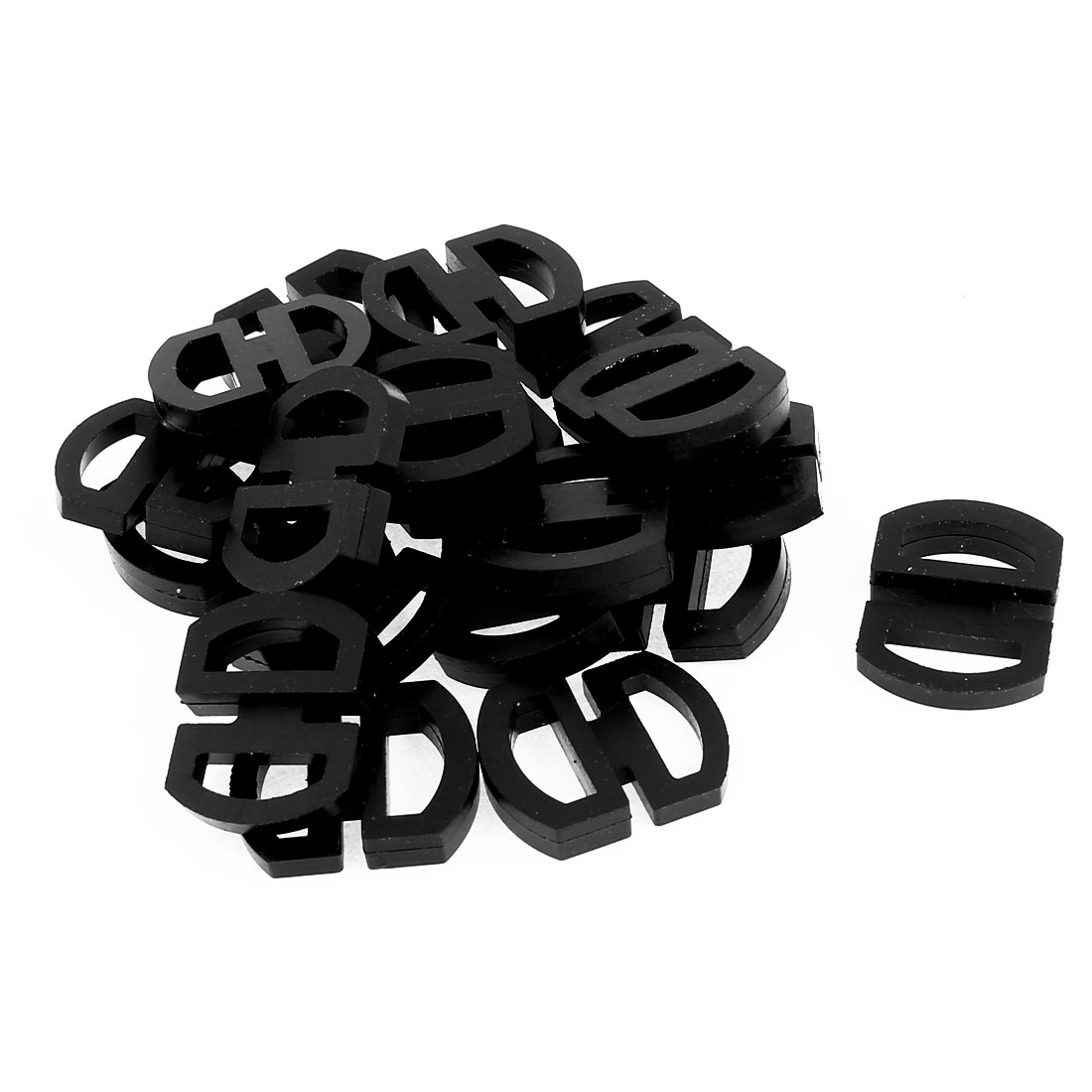 20Pcs 25 x 20mm Black Industrial Rubber Sealing Ring in Watermelon Shape