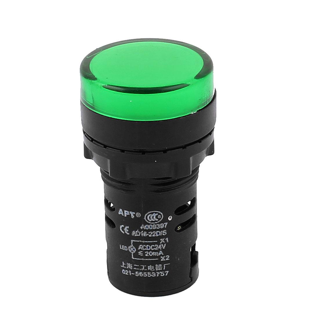 Plastic LED Pilot Panel Turn Indicator Light 21mm AC/DC 24V 20MA