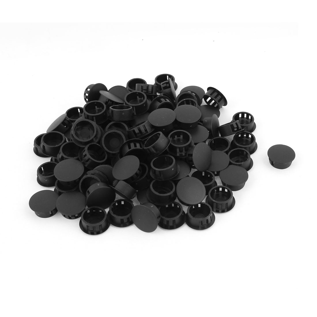 100 Pcs SKT-19 Black Snap in Nylon Locking Hole 19mm Dia
