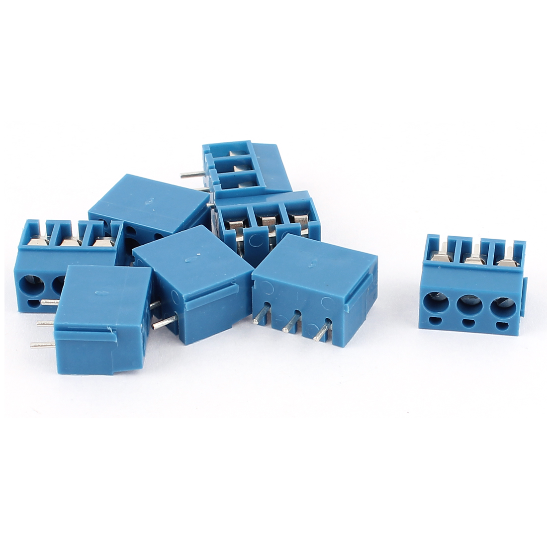 8Pcs AWG 22-14 AC 300V 10A 3P PCB Mount Screw Terminal Block Blue