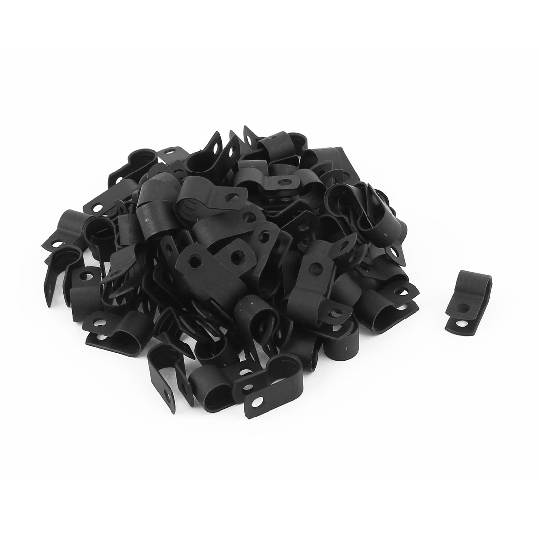 100 Pcs Black Plastic Cable Cord Clamp Clip Tie Organizer Management R Type 8.4