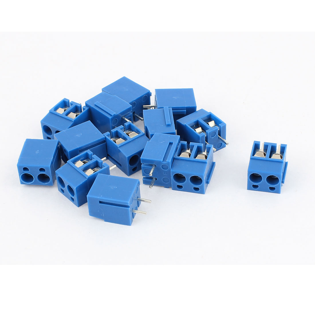 14Pcs AWG 22-14 AC 300V 10A PCB Mount Screw Terminal Block Blue