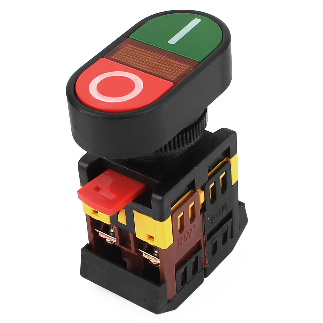 C1CJ 10A AC 600V Yellow Light 2-Position 6 Terminals DPDT Momentary Start Stop Push Button Switch